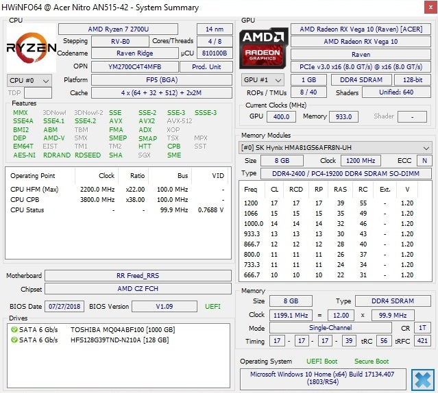 Test: Acer Nitro 5 (Ryzen 7 2700U, Radeon RX 560X, FHD) Laptop