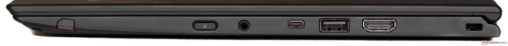 slot for stylus (included), on/off button, audio in/out, mini-Gigabit-Ethernet port (adapter included), USB 3.0, HDMI, Kensington Lock