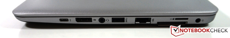 Right: USB 3.1 Type-C (gen. 1), DisplayPort, headset, USB 3.0, Ethernet, docking, SIM slot, power